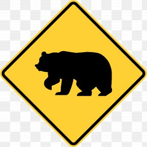 Wild Animals - American Black Bear Warning Sign Traffic Sign PNG