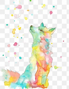Wolf - Gray Wolf Watercolor Painting Drawing Fox Illustration PNG