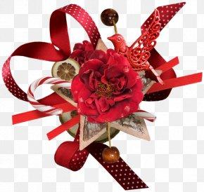 Christmas - Christmas Gift Flower Bouquet Clip Art PNG