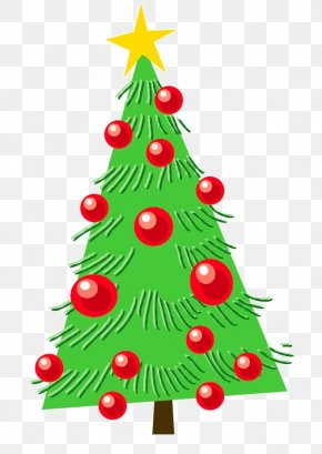 Cartoon Green Christmas Tree Decoration Star Red Ball - Christmas Tree Christmas Ornament Fir Illustration PNG