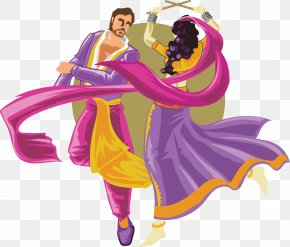 Cartoon Characters Dance Between Men And Women - Folk Dance Garba Dandiya Raas PNG