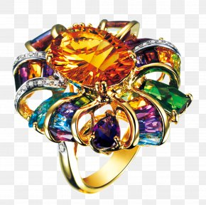 Multicolored Gemstone Rings - Gemstone Wedding Ring Diamond PNG