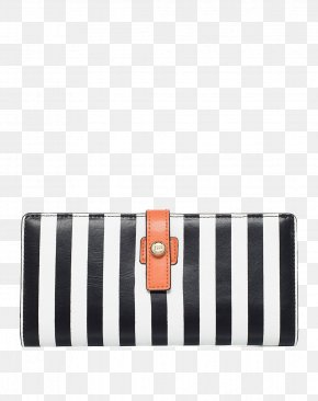 Elle Black And White Striped Purse - Handbag Black And White Wallet PNG