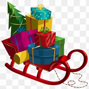 Christmas Sleigh With Gifts Clip-Art Image - Gift Clip Art PNG