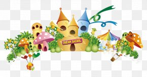 Cartoon Mushroom House - Dream World Cartoon Amusement Park PNG