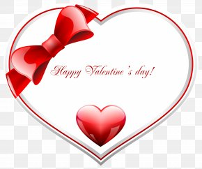 Red And White Happy Valentine's Day Heart PNG Clip Art Image - Valentine's Day Heart Clip Art PNG