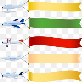 Aircraft Off With Ribbon - Airplane Aircraft Banner Clip Art PNG