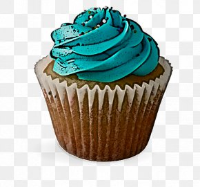 Muffin Dessert - Cupcake Baking Cup Buttercream Turquoise Icing PNG