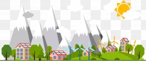 Vector Hand Painted New Energy City - Solar Energy Illustration PNG
