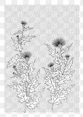 Japanese Line Drawing Of Plant Flowers Vector Material - Flower Line Plant PNG