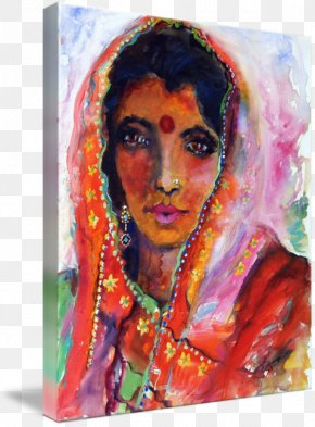 Watercolor Woman - Modern Art Watercolor Painting Oil Painting Women In India PNG