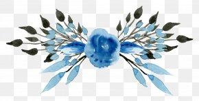 Hand Painted Blue Flower Pattern - Wedding Invitation Blue Flower Clip Art PNG
