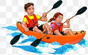 Vector Double Boat - Kayak Canoe Father Illustration PNG