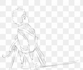 Character Artwork - White Line Art Sketch PNG