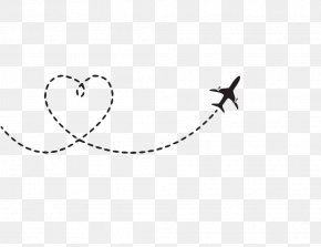 Heart-shaped Airplane Route - Airplane Flight Aircraft Clip Art PNG