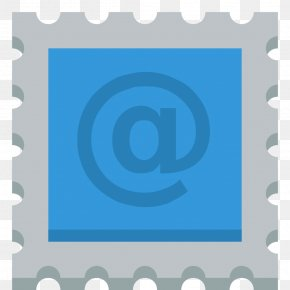 Stamp - Blue Picture Frame Square Text PNG