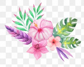 Tropical Plants Watercolor - Clip Art Flower Bouquet Paper Drawing PNG