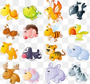 Cute Cartoon Animals Vector Material PNG