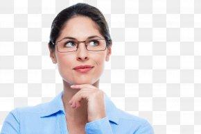 Thinking Woman - Glasses Human Behavior Business Chin Beauty PNG