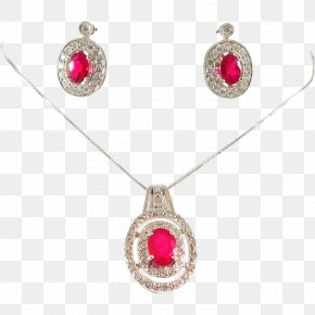 Ruby - Ruby Earring Necklace Locket Jewellery PNG