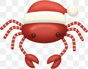 Christmas Crab - Santa Claus Crab Christmas Ornament Candy Cane Clip Art PNG