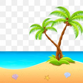 Seaside Palm Leaves Picture Material - Island Clip Art PNG
