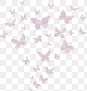 Pink Butterfly - Wall Decal Sticker Drawing PNG