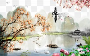 China Wind Creative Background Beautiful Landscape - China Landscape Painting Oil Painting PNG