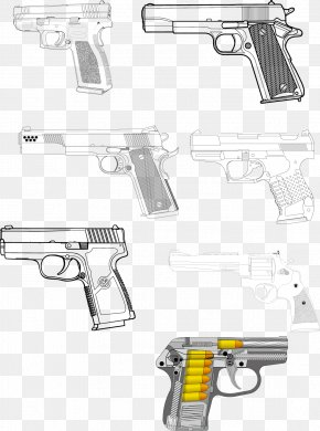 2017 Pistol Artwork Painted In Black And White Color - Firearm Pistol Weapon Handgun PNG