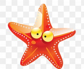 Orange Cartoon Starfish - Starfish Cartoon Drawing PNG
