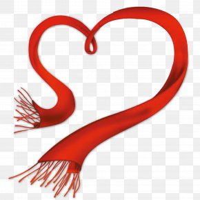 Heart Scarf - Scarf Red Clip Art PNG