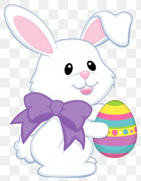 Easter Cute Bunny With Purple Bow Transparent Clipart - Easter Bunny Easter Egg Easter Basket Clip Art PNG