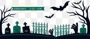 Horror Graveyard Banner - Grave Cemetery Web Banner PNG