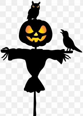 Scarecrow With Owl And Raven Clip Art Image - Drawing Halloween Clip Art PNG