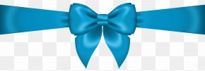 Blue Bow Transparent Clip Art Image - Bow Tie Blue Ribbon Product PNG