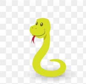 Vector Green Tongue Tongue Lovely Cartoon Snake - Snake Cartoon Illustration PNG