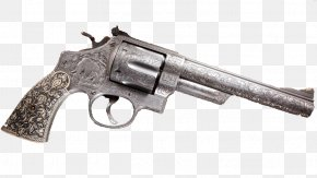 Matte Silver Revolver - Revolver Trigger Firearm Air Gun Pistol PNG
