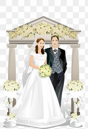 The Bride And Groom Wedding White Flowers Vector Material - Bridegroom Wedding PNG
