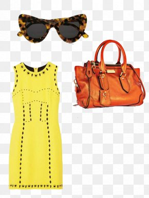 Bright Yellow Summer Dress With FIG. - Fashion Clothing Autumn Dress Handbag PNG