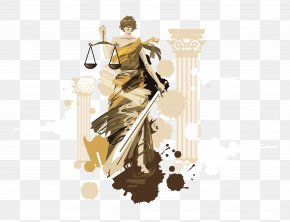 Justice Goddess Image Painted Design Zhu Di Tiya - Lady Justice Painting Euclidean Vector PNG