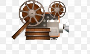 Vector Painted Retro Projector - Movie Projector Reel Film PNG