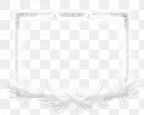 White Feather Frame - White Black Pattern PNG