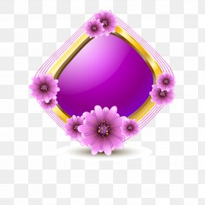 Flowers Purple Crystal Frame Vector Material - Flower Euclidean Vector Purple PNG