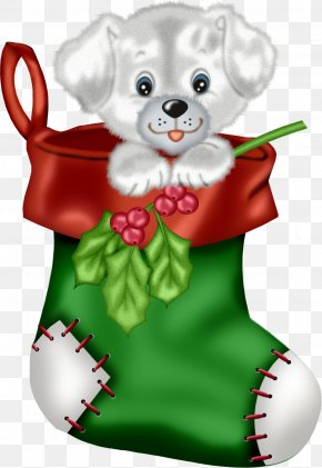 Christmas Green Stocking With Puppy Clipart - Labrador Retriever Puppy Santa Claus Christmas Clip Art PNG