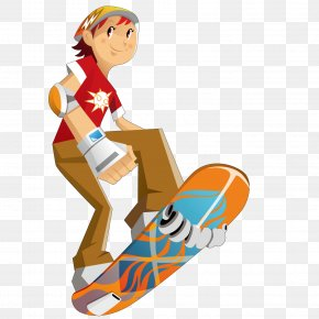Play The Skateboard Boy - Skateboarding Clip Art PNG