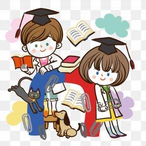 Reading Cartoon Men And Women - Cartoon Estudante Child Illustration PNG