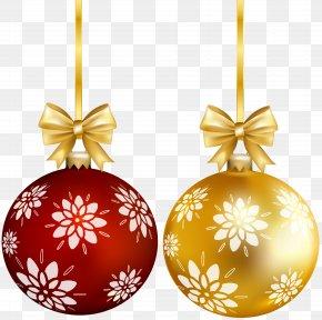 Red Gold Christmas Ball Transparent Clip Art - Christmas Ornament Santa Claus Christmas Tree Clip Art PNG