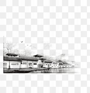 Black And White Ink Town FIG. - Maotai Black And White Ink Wash Painting PNG
