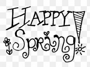 Happy Spring Cliparts - Black And White Spring Clip Art PNG