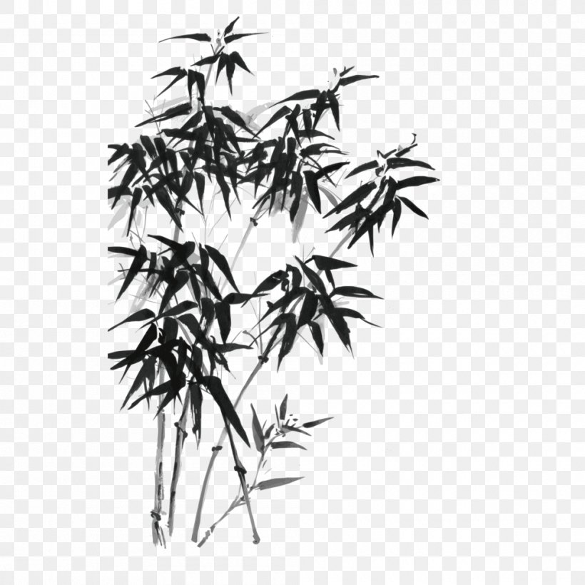 Bamboo Ink Wash Painting Drawing Illustration, PNG, 1000x1000px, Bamboo, Black, Black And White, Branch, Drawing Download Free
